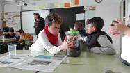 Alumnes de 4t treballen en grups cooperatius construint un cicle de l'aigua a petita escala i fent prediccions dels fenòmens que hi tindran lloc.